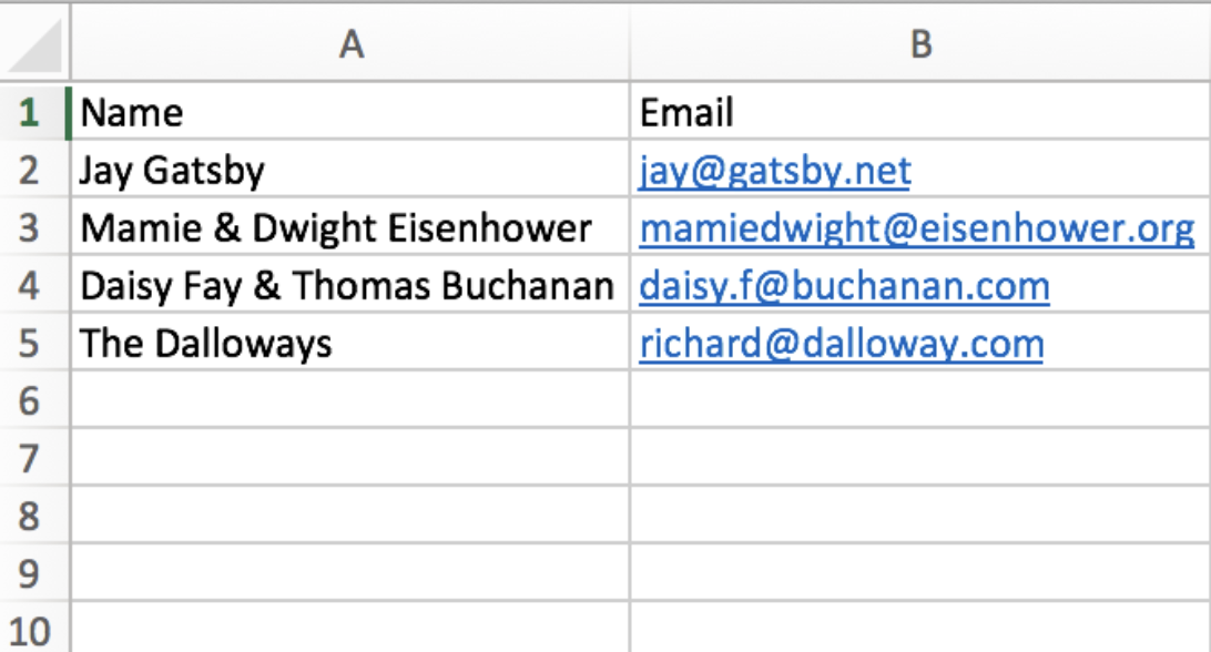 Can I upload a spreadsheet of contacts to create my guest list ...